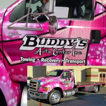 Buddy's Towing Gives Back in a Pink Tow Truck!